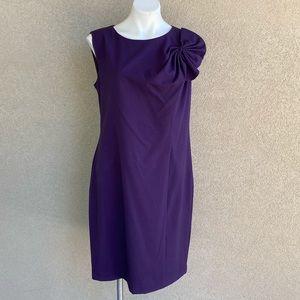 Purple Flower Detail Crew Neck Sheath Casual Dress